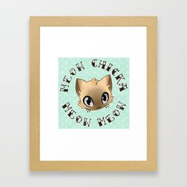 Meow Chicka Meow Meow Cat Tattoo Flash-style Framed Art Print