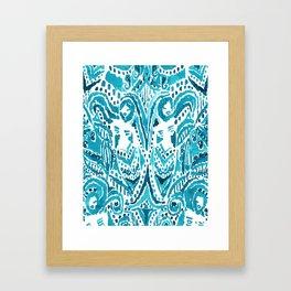 #MERMLIFE Blue Ikat Watercolor Mermaids Framed Art Print