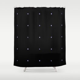 BLACK + neon pixels/ minimal Shower Curtain