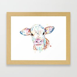 Manitoba Cow - Colorful Watercolor Painting Framed Art Print
