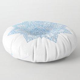 Blue flower mandala - marble Floor Pillow