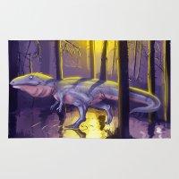 trex Area & Throw Rugs featuring Giganotosaurus dinosaur by bytahsinkaya