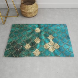 Multicolor Aqua And Gold Mermaid Scales -  Beautiful Abstract Pattern Rug