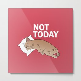 Lazy Frenchie Metal Print
