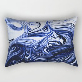 Oil Swirl Blue Droplets Abstract I Rectangular Pillow