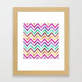 Chevron Multicolor Watercolor Framed Art Print
