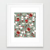 chef Framed Art Prints featuring  Chef pattern by Maria Jose Da Luz