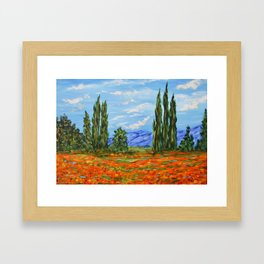 Poppy Meadow, Poppy Field Impressionist Painting Framed Art Print