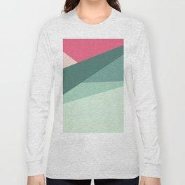 Modern abstract pastel pink green geometrical colorblock Long Sleeve T-shirt