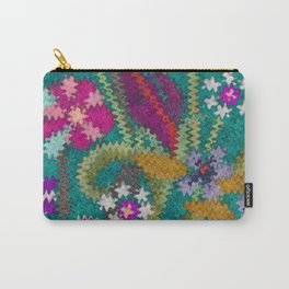 Starry Floral Felted Wool, Turquoise and Pink Carry-All Pouch