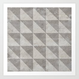 Grey concrete geometry vintage pattern Art Print