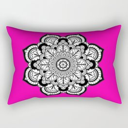 Black and White Flower in Magenta Rectangular Pillow