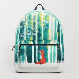 Fox in quiet forest Backpack