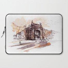 Art Nouveau building / watercolor and ink. Laptop Sleeve