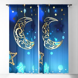 Gold Crescent on Blue Background Blackout Curtain