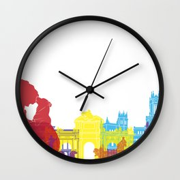 Madrid skyline pop Wall Clock