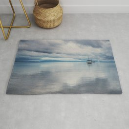 boat reflections in the water print ...  Rug