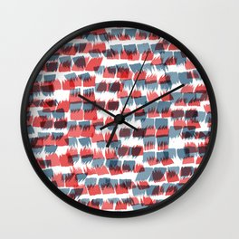 Red and Blue short brushstrokes - Sarah Bagshaw Wall Clock