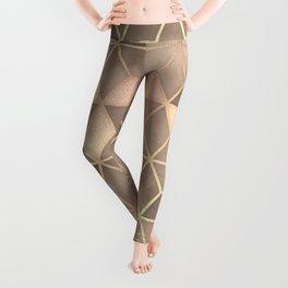 Gold light brown Gradient Cube Art print Leggings