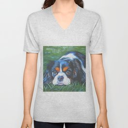 Beautiful Tricolour Cavalier King Charles Spaniel Dog Painting by L.A.Shepard Unisex V-Neck