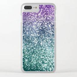 Aqua Purple Ombre Glitter #4 #decor #art #society6 Clear iPhone Case