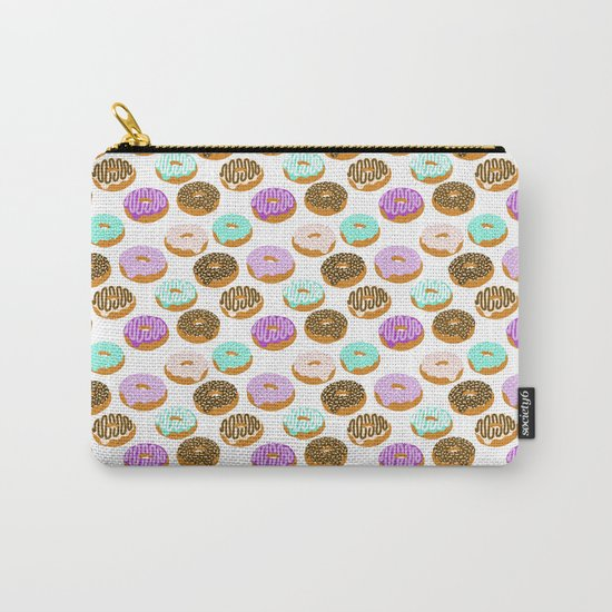 Donuts - junk food treat funny illustration with happy food face doughnuts pastry bakery Carry-All Pouch