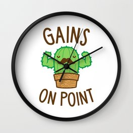 Gains On Point (Cactus Pun) Wall Clock