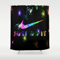 lakers Shower Curtains featuring NIKE by Bilqis