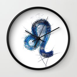 Leo zodiac sign, Horoscope Astrology background, Leo horoscope symbol, blue symbol on white background Wall Clock