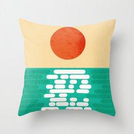 Sun over the sea Throw Pillow