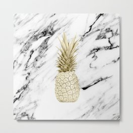 Gold Pineapple on Marble Metal Print