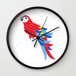 Whimsy scarlet macaw Wall Clock