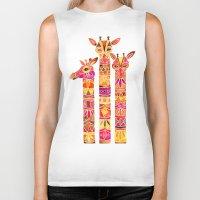 giraffes Biker Tanks featuring Giraffes – Fiery Palette by Cat Coquillette