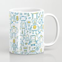 robots Mugs featuring Robots by Peter Clayton