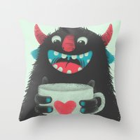 coffee Throw Pillows featuring Demon with a cup of coffee by Lime