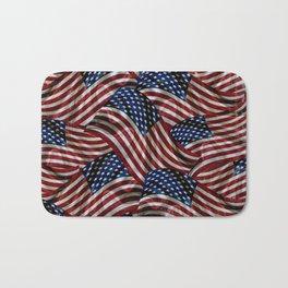 Rustic American Flags Bath Mat