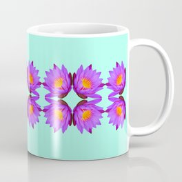 Purple Lily Flower - On Aqua Blue Coffee Mug