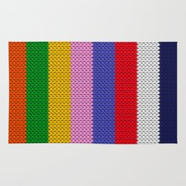 Knitted colorful stripes  Rug