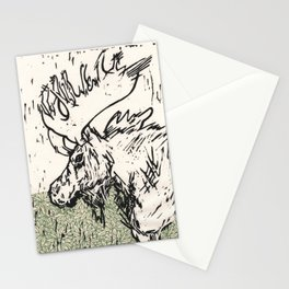 I See Leaves of Green Black White Green Moose Linocut Block Print Graphic Design Stationery Cards