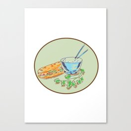 Bánh Mì Sandwich and Rice Bowl Drawing Canvas Print