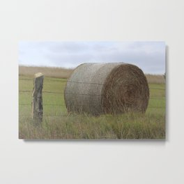 Kansas Hay Bale in a field with a fence Metal Print