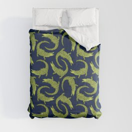 Crocodiles (Deep Navy and Green Palette) Comforters