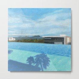 Pool Palm Shadow Metal Print