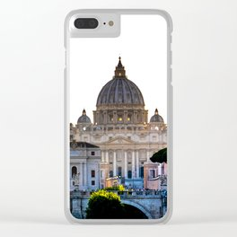 Walls of the Tiber river and the Basilica of San Pietro. Rome Clear iPhone Case
