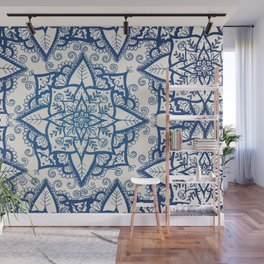 Blue Floral Pattern on Cream Wall Mural