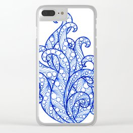 Blue ultramarine sea flourishes Clear iPhone Case