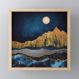 Midnight Desert Moon Framed Mini Art Print