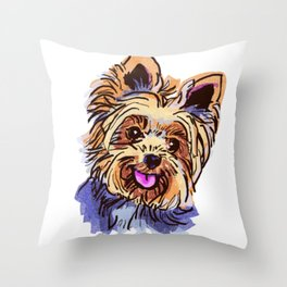 The cute smiley Yorkie love of my life! Throw Pillow