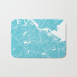 Amsterdam Turquoise on White Street Map Bath Mat