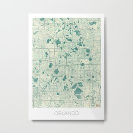 Orlando Map Blue Vintage Metal Print